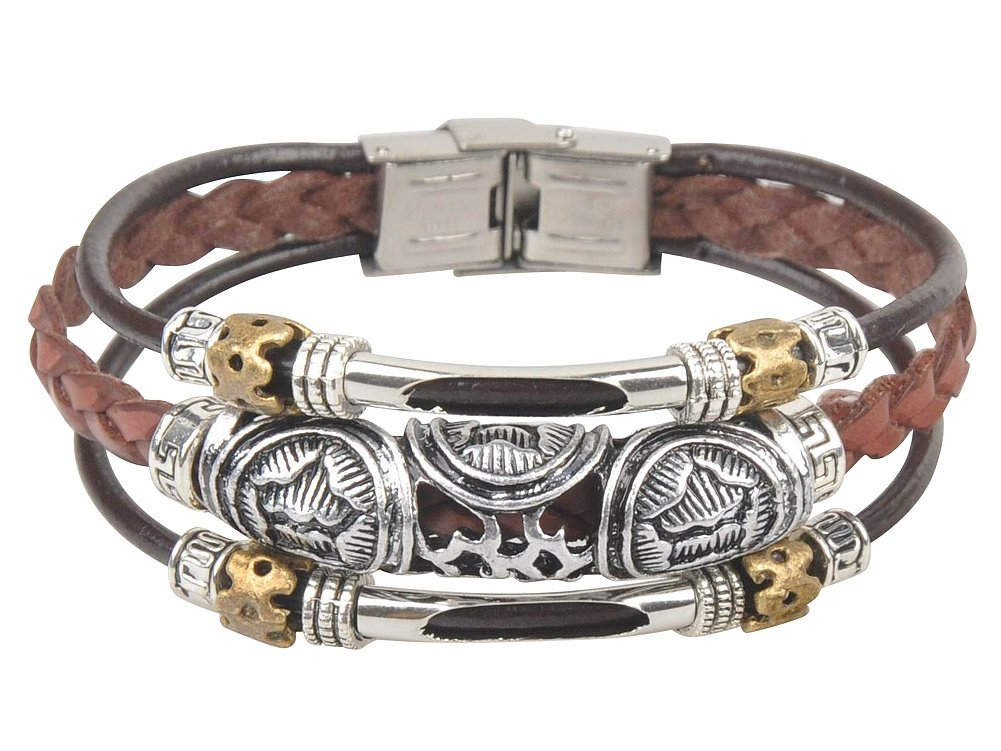 Ancient Tribe Genuine Leather Surfer Beads Bracelet,Tibetan Style,7.5 Inches,Brown (2#)