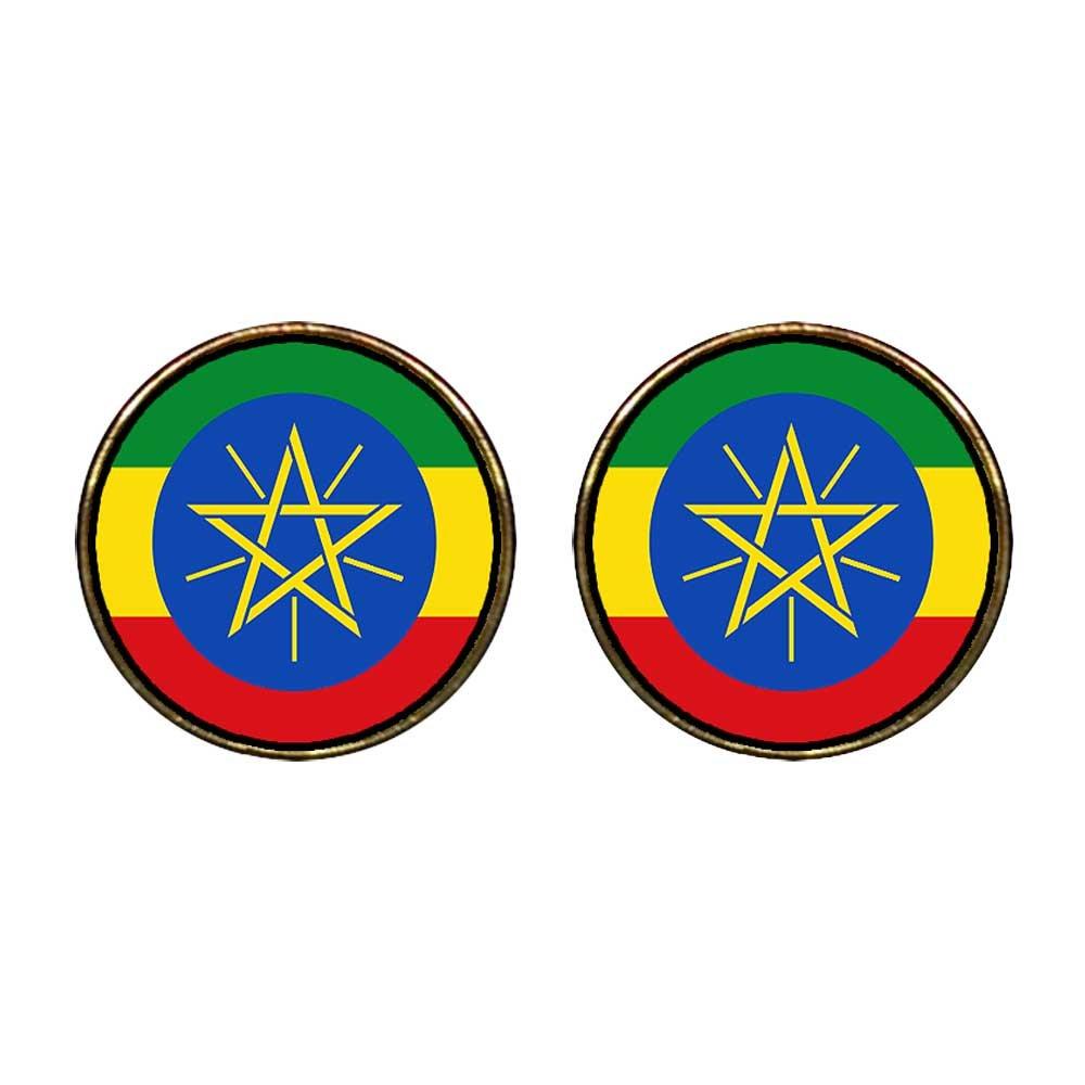 GiftJewelryShop Gold Plated Ethiopia flag Photo Stud Earrings 12mm Diameter