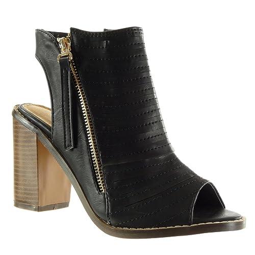 Angkorly - Zapatillas Moda Sandalias Botines Peep-Toe abierto low boots mujer multi-correa acabado costura pespunte cremallera Talón Tacón ancho alto 9.5 CM - Beige M107 T 38 gq4eF8Thte