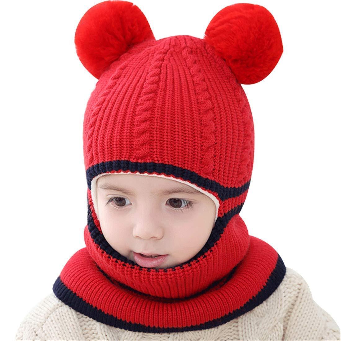 Rgslon Unisex Baby Fleece Hat Scarf Infant Windproof Pom Pom Hoody Cap Blaclava