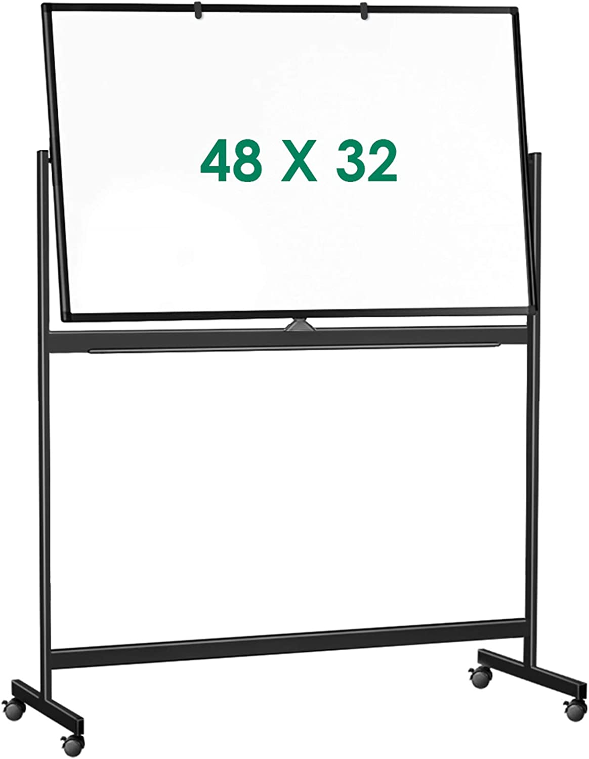 Double Sided Mobile Whiteboard, 48 x 32 inches Large Rolling White Board, maxtek Reversible Magnetic Dry Erase Board Black Easel Standing Whiteboard on Wheels for Home Office Classroom