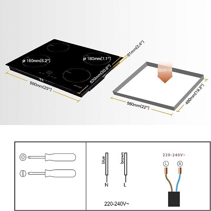 NOXTON 60cm Placas de Inducción 4 fuegos Vidrio negro Cocina eléctrica integrada de Domino con control táctil del sensor