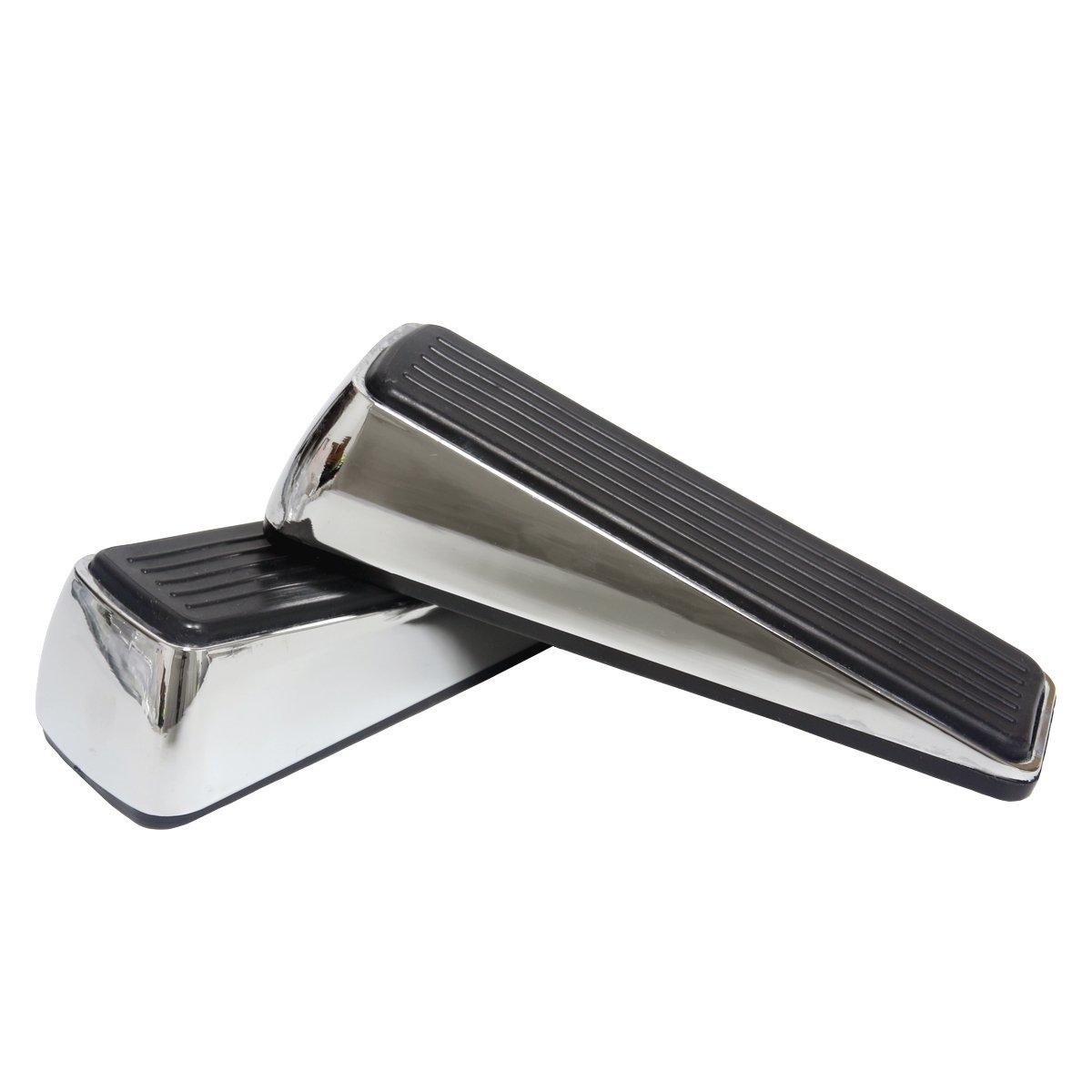 2Pcs Door Stoppers Heavy Duty Stainless Steel Door Wedge Metal Doorstop Bumper Buffer with Rubber