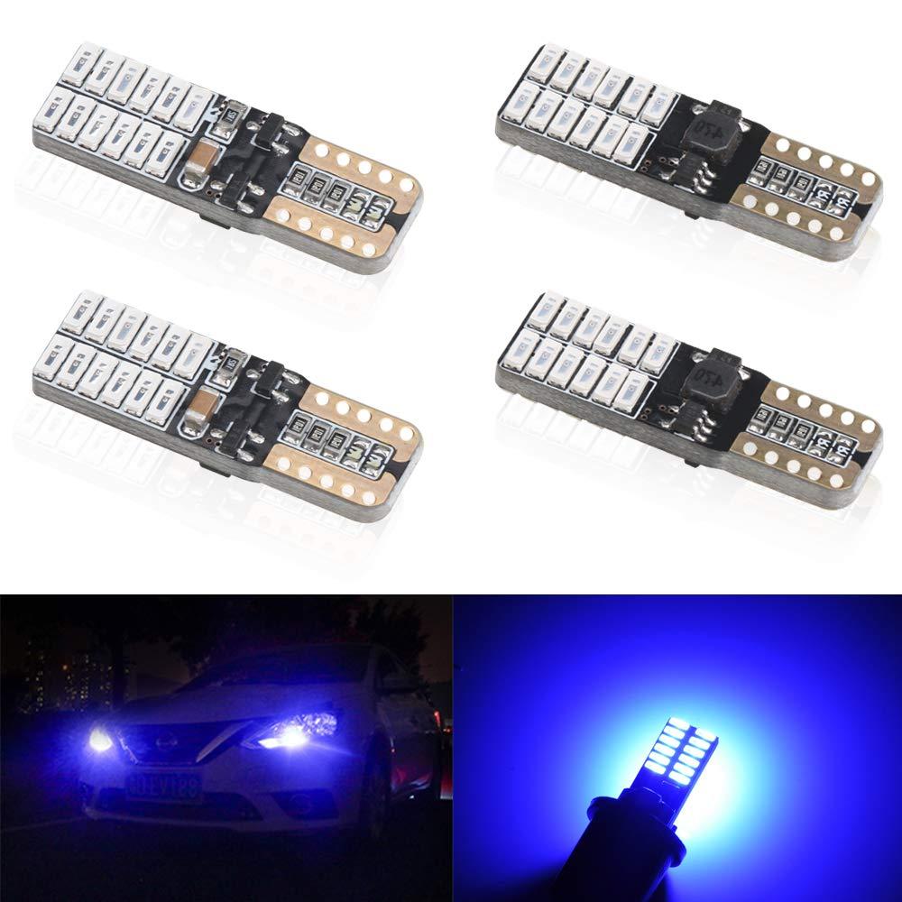 4pcs Rouge T10 W5W 168 194 501 Super Bright Wedge LED Ampoules de Voiture Lampe 4014 SMD 24 LED CanBus Sans Erreur 5W 12V