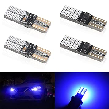 4 unids T10 W5W 168 194 501 LED Bulbs 24 leds 4014SMD Super Bright Azul Canbus no error Bombillas ...