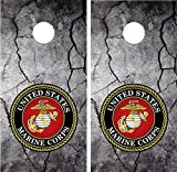 Marines Military Cracked Rock Stone LAMINATED Cornhole Board Decal Wrap Wraps