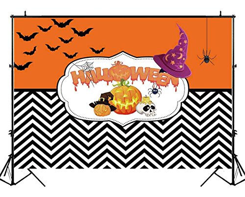 Funnytree 7X5ft Happy Halloween Party Backdrop Pumpkin Chevron Stripes Photography Background Trick Or Treat Bats Sweet Table Decorations Photobooth Photo Studio Props ()