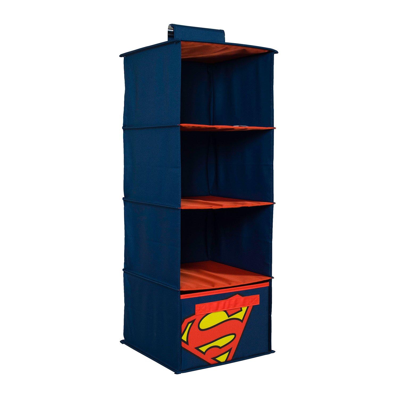 Everything Mary DC Comics Superman Hanging Closet Organizer | 4 Shelves Clothing Organizer for Closet and Bedroom Storage | DC Comics Towel Accessory Storage, Collapsible Hanging Organizer