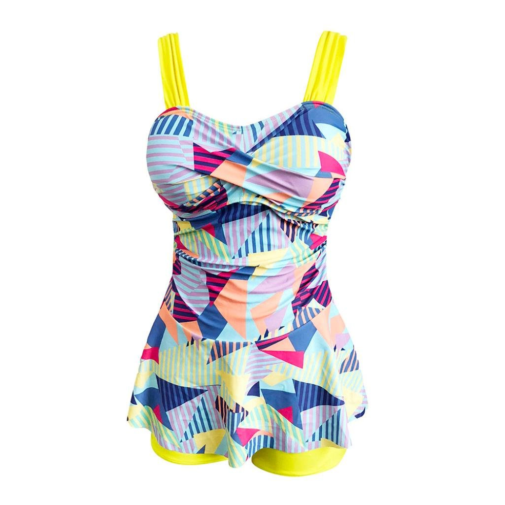Rambling Women's High Waist Conservative Geometry Blocks Printing Swimdress Swimsuit Plus Size Swimwear S-5XL by Rambling (Image #4)