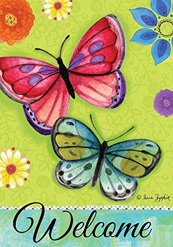 Spirited Butterflies Spring House Flag Welcome Floral 28