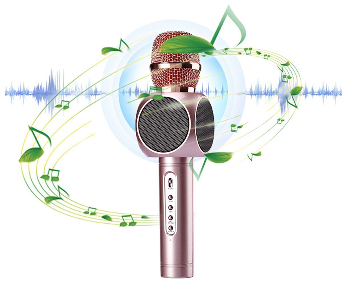Acekool Wireless Karaoke Microphone & Speaker for Music Playing and Singing Anytime, 3 in 1 KTV Machine for Camping Activity ,Smule Sing,Youtube, IPhone Android Smartphone and PC (Golden)