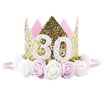 Missley Corona Rosa Flor Corona de Oro Corona de cumpleaños Princesa bebés Corona Cabeza Accesorios de Pelo (30)