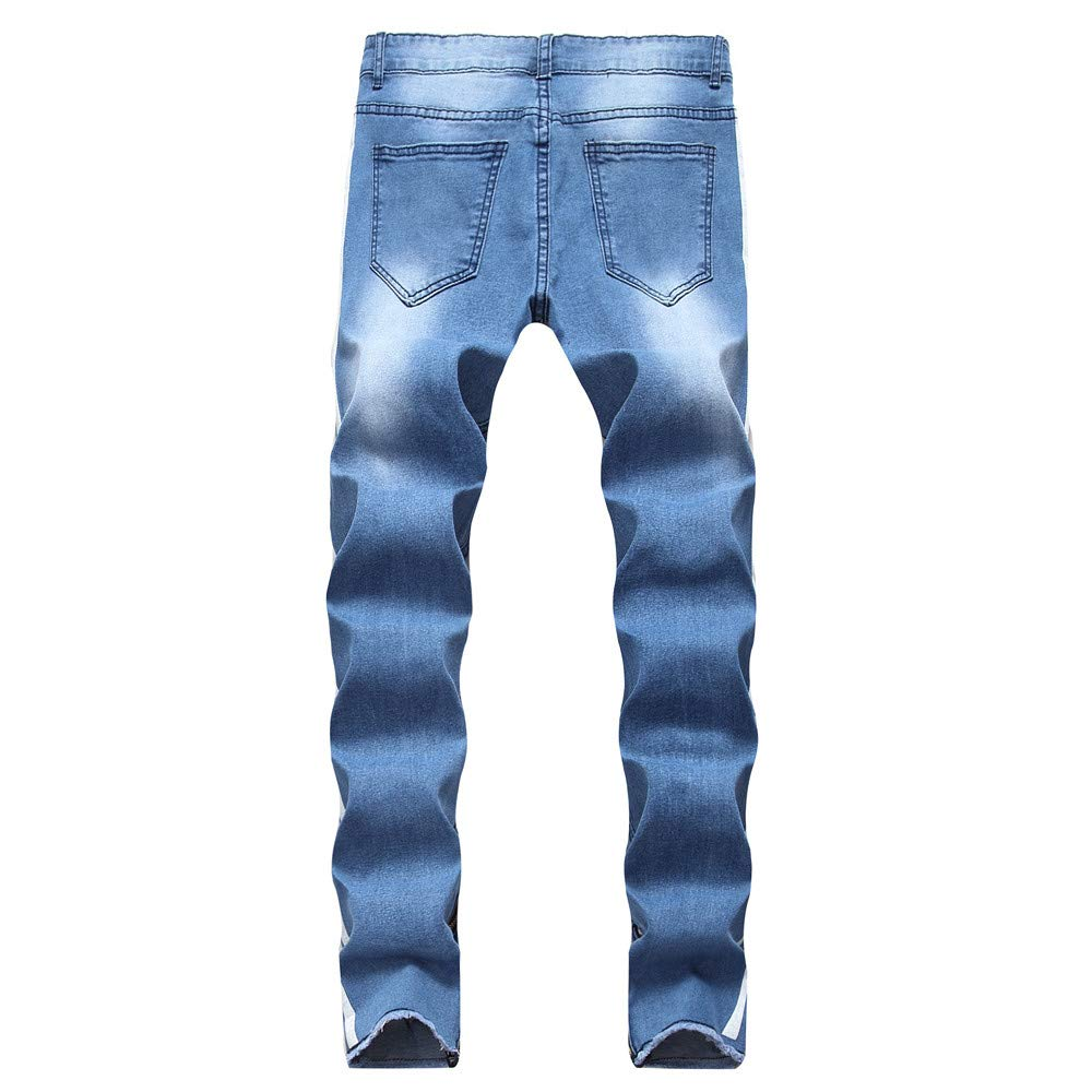 Kstare Mens Fashion Casual Slim Fit Straight Leg Painted Letters Printed Jeans Pants Personality Hollow Letter Pant Blue