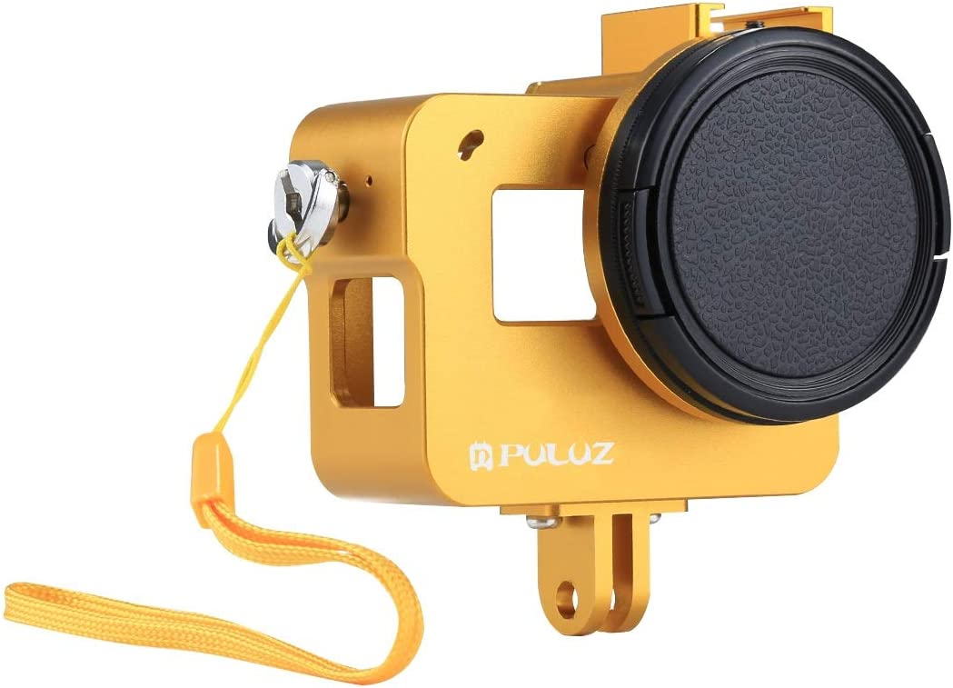 Black Xdashou Housing Shell CNC Aluminum Alloy Protective Cage with Insurance Frame /& 52mm UV Lens for GoPro Hero Color : Gold //7 Black //6//5 2018