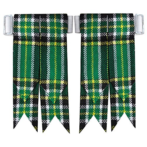 New Solid Plain Black, Royal Stewart Tartan Many More Kilt Flashes Multi Colors (Irish Heritage) - Kilt Irish