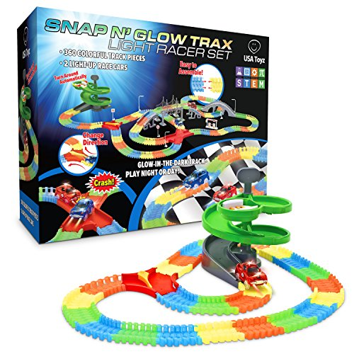 Toy Car Glow Race Track - 360-Pc. Snap N' Glow Trax Flexible Glow in The Dark Race Tracks with 2 Electric Light up Toy Cars