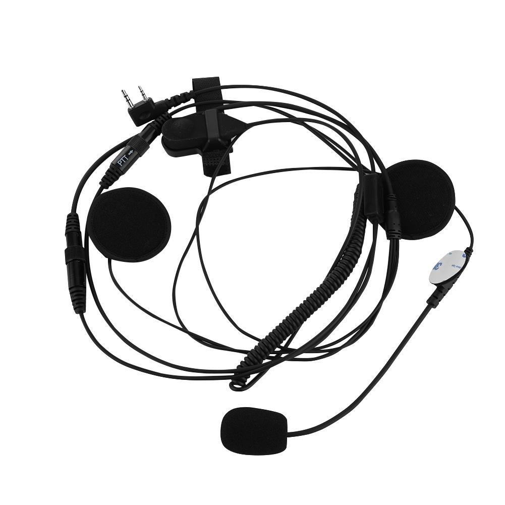 Walkie Talkie Helmet Headset PTT Mic Motorcycles Helmet Earphone with Universal K Plug 2-Pin for Baofeng Zerone