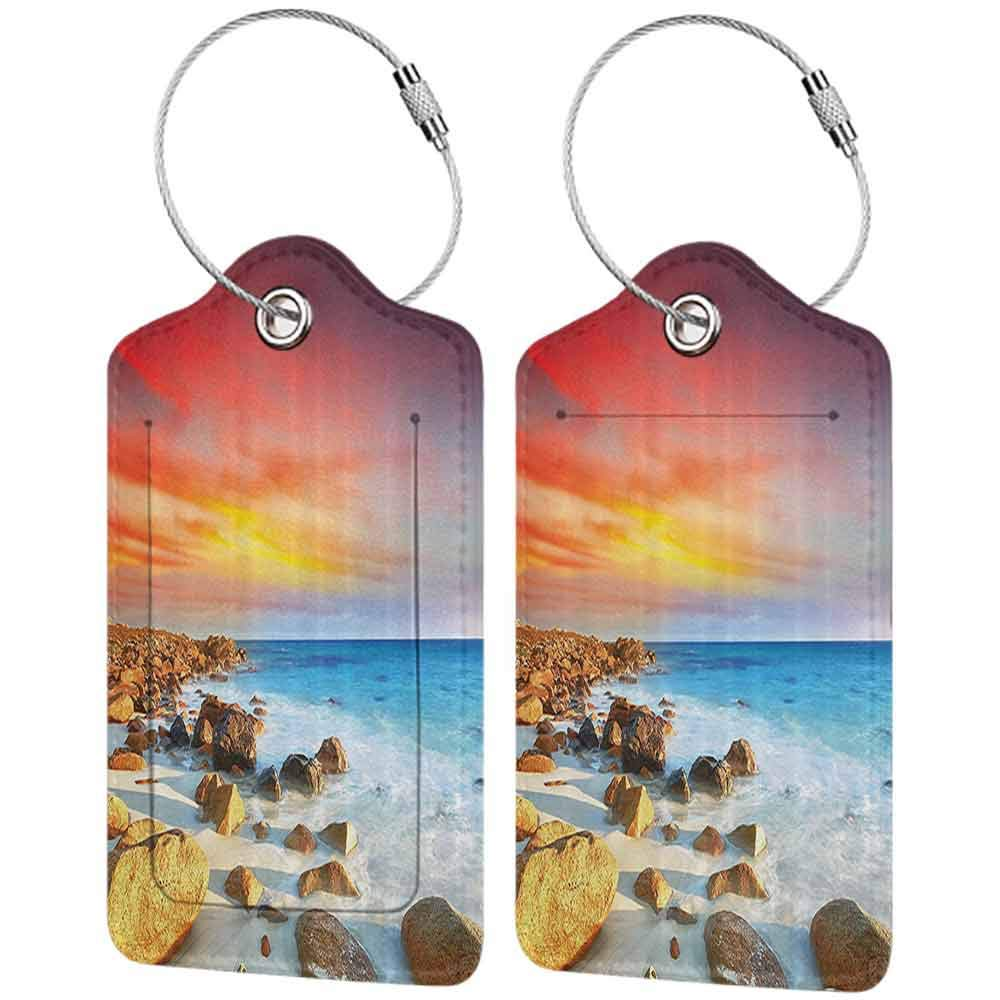 Soft luggage tag Seaside Decor Collection Sunrise over Seashore Stone on the Foreground Caribbean Morning View Picture Bendable Red Orange Blue Ivory W2.7 x L4.6