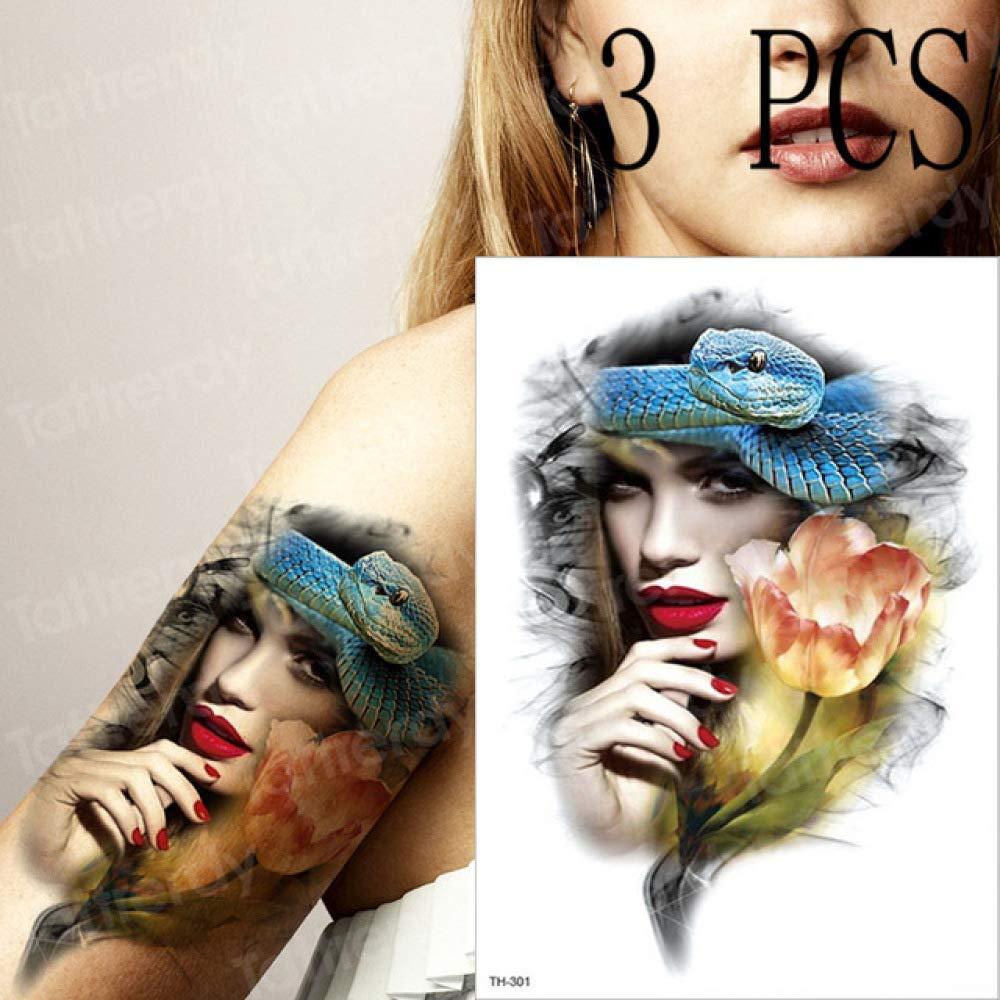 tzxdbh 3pcs / Flirt Snake Girl Flower confundir Hombres Tatuaje ...