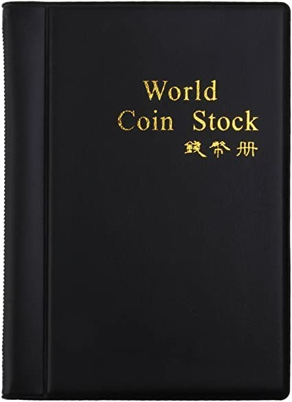 Coin Holder Collection Storage 120 Pockets Album Book Collectors Black Leather