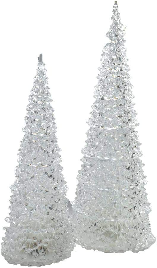 Napco Christmas Tree Multicolor LED Light Up Acrylic Tabletop Figurines Assorted Size 2 Piece Set