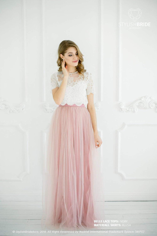 Amazon.com: Belle Blush Lace Dress, Bridesmaids Long Blush ...