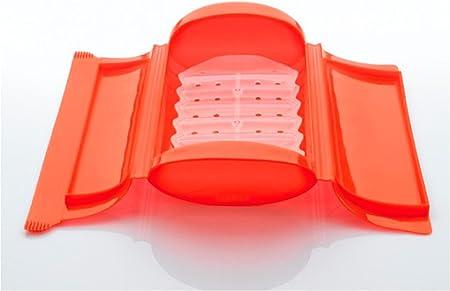 Lékué Estuche de Vapor c/Bandeja para el microondas, Color Rojo con una Capacidad de 650 ml (1-2 Personas): Amazon.es: Hogar