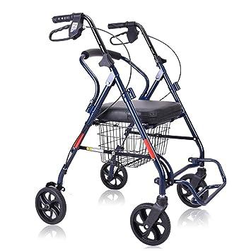 YONGMEI Ancianos Walker Mayores Carro de la compra Frenos para sillas de ruedas Banco de caña plegable Sillas de ruedas (color : Azul): Amazon.es: Salud y ...