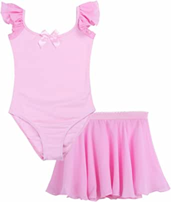 FEESHOW Girls' Gymnastic Leotard with Skirt Ruffle Sleeve Ballet Tutu Dress Dance wear Costume