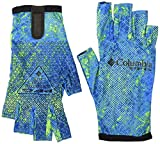 Columbia Unisex PFG Terminal Tackle Fishing Glove, UV Sun Protection, Moisture-Wicking, Large/X-Large, Hyper Blue Realtree Mako Camo