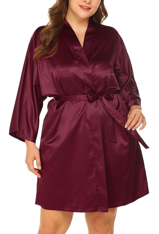 INVOLAND Womens Plus Size Short Satin Robes Kimono Dressing Gown Bathrobe Bridesmaid Wedding Party Robes