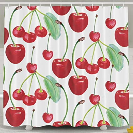 Jianyue Cherry Fruit Shower CurtainBathroom Curtains Bath DecorationsShower Curtain For BathroomMildew
