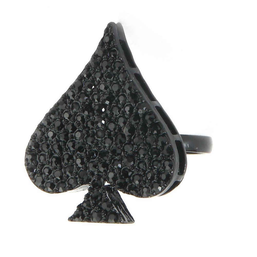 Joe Cool Ring Black Ace Of Spades 22x28mm Made With Crystal Glass & Tin Alloy by