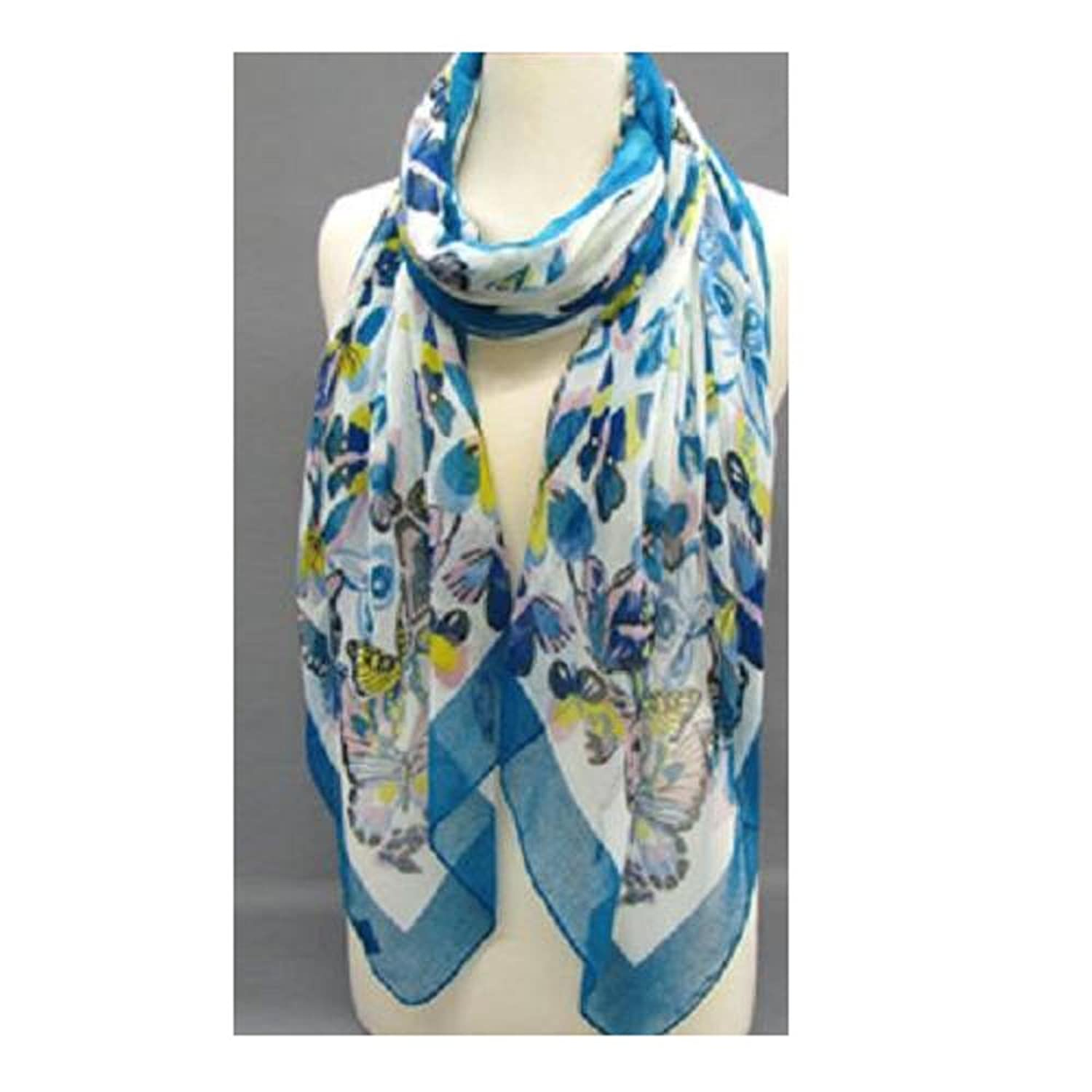 """Fashion Scarf""~ White with ""Blue"" Butterflies and Border ~ 27"" x 70"""