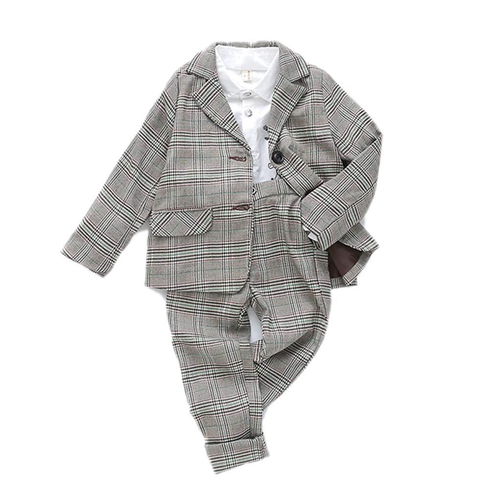 JIANLANPTT Kid Boys Girls Blazer Pants Outfit Set School Uniform Grey Plaid Children Clothing Set 7-8Years Green 1