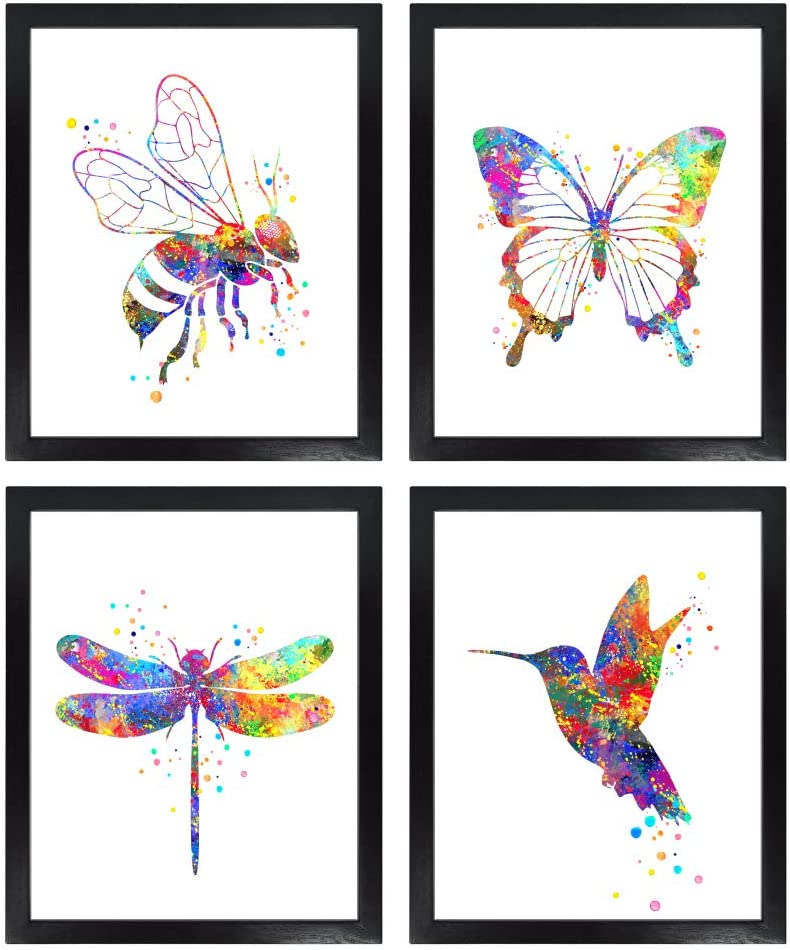 Dignovel Studios Unframed (Set of 4) 8X10 Bee Butterfly Dragonfly Hummingbird Watercolor Art Print Nursery wall art Baby Bedroom Decor dnc9