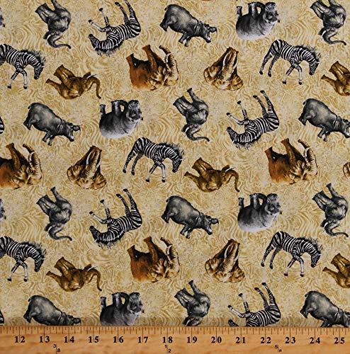 Cotton African Animals Zebras Hippos Elephants Rhinos on Tan Animal Print Wildlife Cotton Fabric Print by The Yard ()
