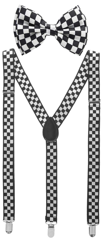 Man of Men - Men's Black & White Checkered Bowtie & Suspender Set by Man of Men