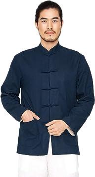 KSUA Chaqueta de Tai Chi para Hombre Camisas Reversibles de Artes Marciales de algodón y Lino Camisas de Manga Larga de Kung Fu con Cuello mandarín: Amazon.es: Deportes y aire libre