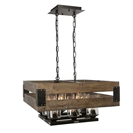 LNC A02986 Wood Chandelier 8 Kitchen Island Lighting Fixtures, Brown ...