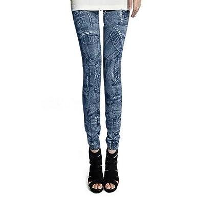 LOCOMO Mujer Denim Print Fake Multi bolsillo pantalones ...