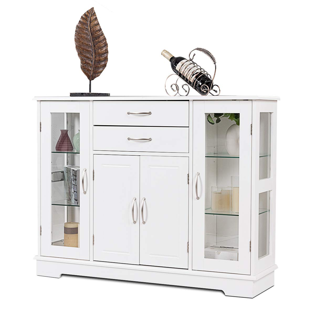 Giantex Sideboard Buffet Server Storage Cabinet Console Table Kitchen Dining Room Furniture Entryway Cupboard with 2 Drawers and 3 Cabinets with Glass Doors, White