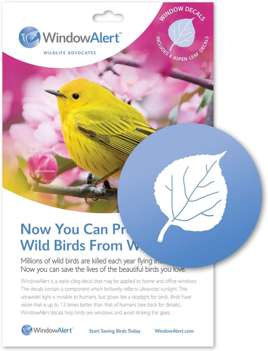 WindowAlert Aspen Leaf Anti-Collision Decal - UV-Reflective Window Decal to Protect Wild Birds from Glass Collisions