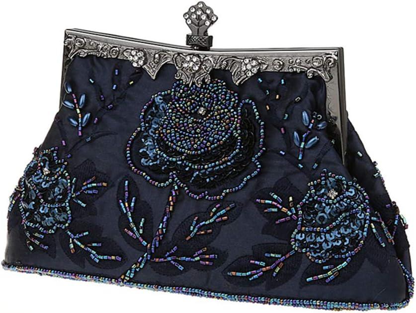 Guozi Damen Retro Clutch Handgemachte Perlen Kupplung Elegante Pailletten Handtasche Stickerei Diagonalpaket Abendtasche Tasche f/ür Hochzeit Party Tanzparty Dunkelblau