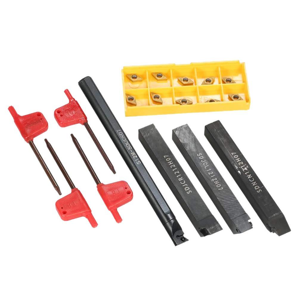 10 Piezas de Revestimiento de Oro DCMT070204 Hoja CNC S12M-SDUCR07 // SDNCN1212H07 // SDJCL1212H07 // SDJCR1212H07 SNOWINSPRING Juego de 14 Piezas de 4 Llaves Combinadas de 12 Mm