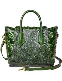 Womens Genuine Leather Vintage Satchel Bag Top Handle Handbags Floral