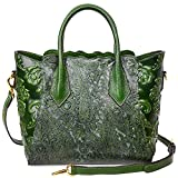 PIJUSHI Womens Genuine Leather Vintage Satchel Bag Top Handle Handbags Floral 33108(One Size, Green)