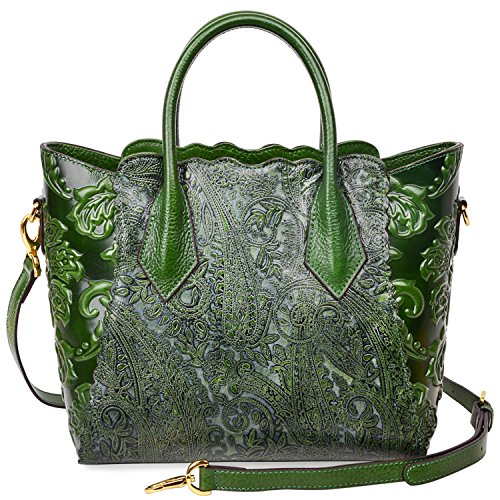 PIJUSHI Womens Genuine Leather Vintage Satchel Bag Top Handle Handbags Floral 33108(One Size, Green) by PIJUSHI