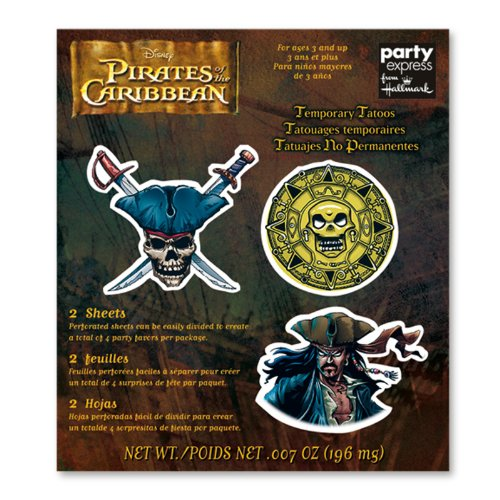 Pirates of the Caribbean Tattoo Favors - 4 Count