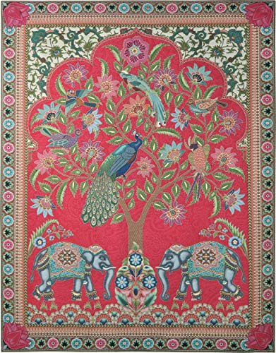 Asian Elephants | Woven Tapestry Wall Art Hanging | Jewel Tones with Peacocks | 100% Cotton USA Size 67x53